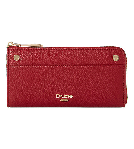 DUNE Slim zip-around faux-leather purse (Red-plain+synthetic