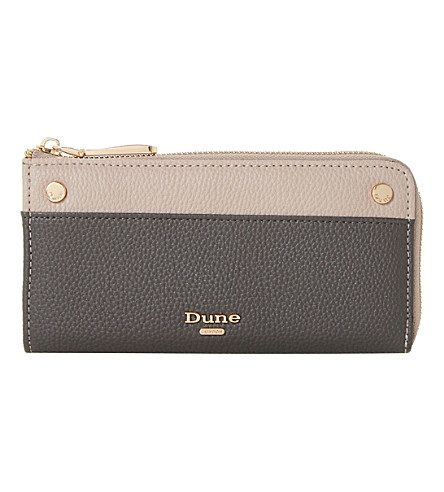 DUNE Slim zip-around faux-leather purse (Grey-plain+synthetic