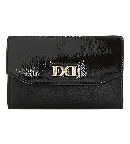 DUNE Kennie patent-flap purse (Black-plain+synthetic