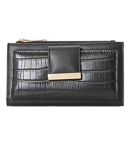 DUNE Kira faux-croc embossed purse (Black-synthetic+croc