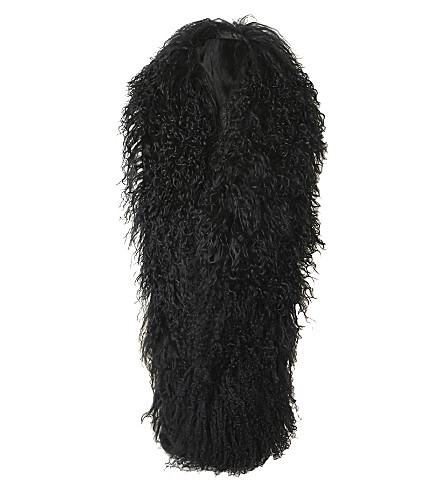 DUNE Longo mongolian faux-fur oversized scarf (Black-wool