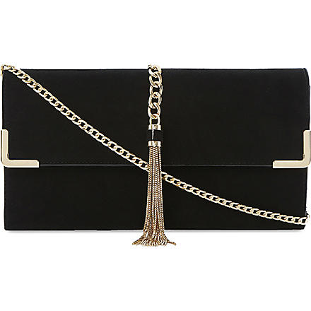 DUNE Edgie tassel chain clutch (Black-suede