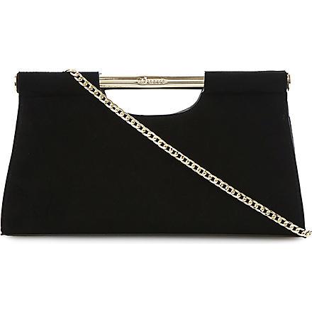 DUNE Envie gold bar clutch bag (Black-suede