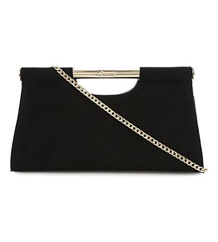 DUNE Envie gold bar clutch bag (Black-suede
