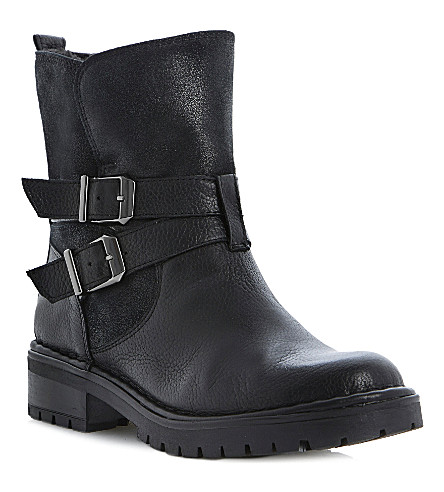 BERTIE Pobby leather biker boots (Black leather