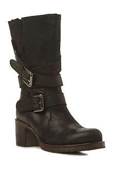 BERTIE Raindrop leather calf-high boots