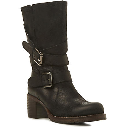 BERTIE Raindrop leather calf-high boots (Black-leather