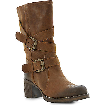 BERTIE Raindrop buckle detail biker boots (Brown-leather