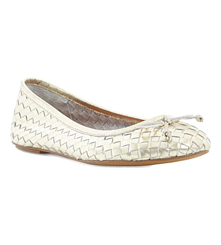 BERTIE Medorra woven ballerina flats (Gold-leather