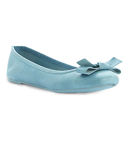 BERTIE Momos bow trim ballerina shoe (Turquoise-leather