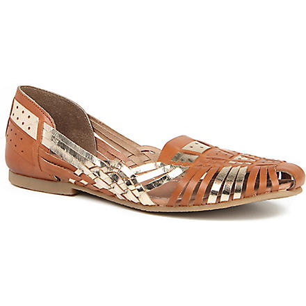 BERTIE Moiran woven leather loafers (Tan-leather