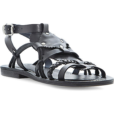 BERTIE Leather gladiator sandals (Black-leather