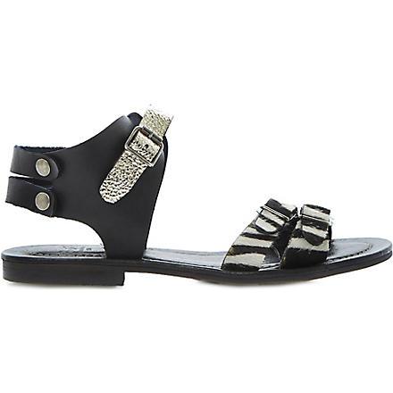 BERTIE Jarva pony hair sandals (Black-leather