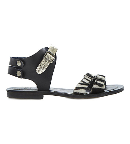 BERTIE Jarva pony hair sandals (Black-leather