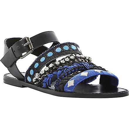 BERTIE Jaipur embellished sandals (Blue-fabric