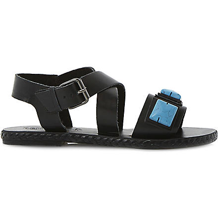 BERTIE Joules jewelled leather sandals (Black-leather