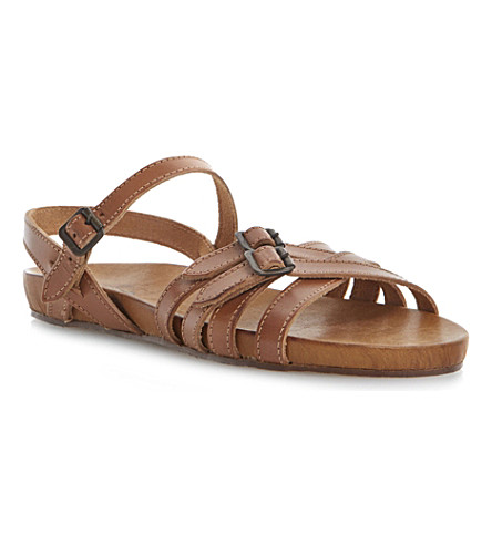 BERTIE Jenga strappy leather sandals (Tan-leather