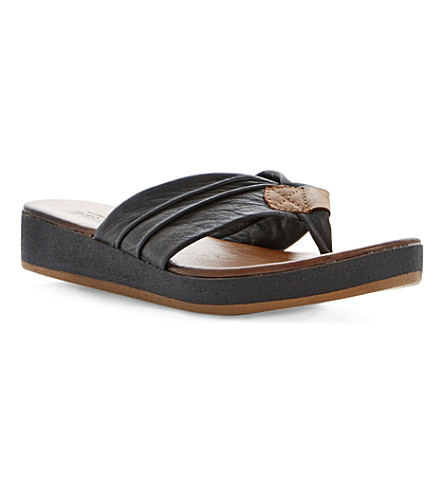 BERTIE Jainey leather flatform sandals (Black-leather