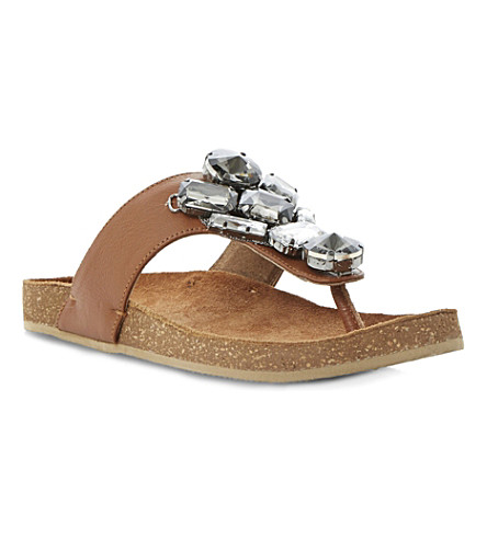 BERTIE Jellow embellished leather sandals (Tan-leather