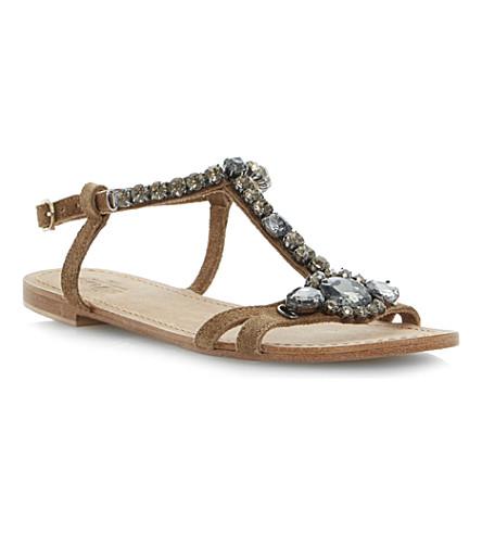 BERTIE Katty suede strap sandals (Tan-suede