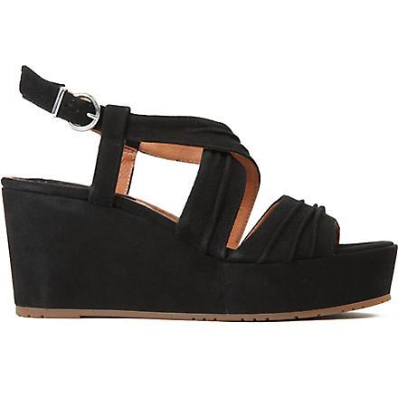 BERTIE Golder suede flatform sandals (Black-suede