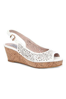 BERTIE Grazer laser-cut leather wedge sandals