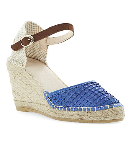 BERTIE Gabbi leather wedge espadrilles (Blue-leather