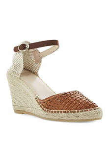 BERTIE Gabbi leather wedge espadrilles