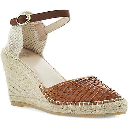 BERTIE Gabbi leather wedge espadrilles (Tan-leather