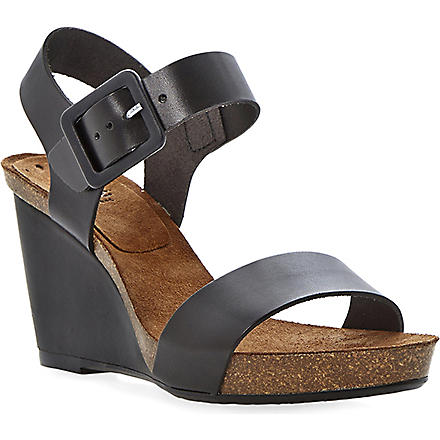 BERTIE Gina wedge heeled sandals (Black-leather