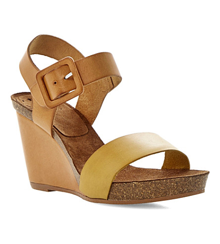 BERTIE Gina leather and cork-effect wedges (Tan-leather