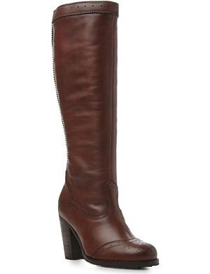 BERTIE Tami brogue-detail knee-high leather boots