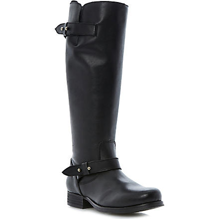 BERTIE Tread leather knee-high biker boots (Black-leather