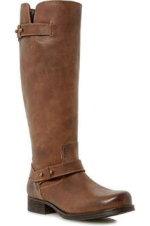 BERTIE Tread leather knee-high biker boots