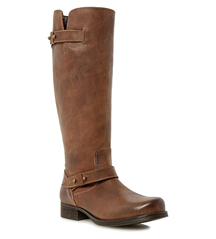 BERTIE Tread leather knee-high biker boots (Brown-leather