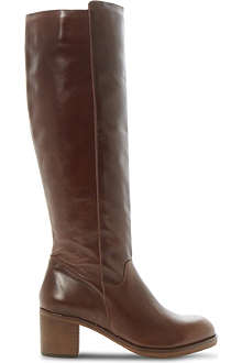BERTIE Timber block heel leather knee-high boots