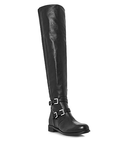 BERTIE Tarmac leather over-the-knee boots (Black-leather