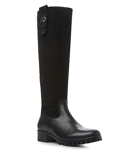 BERTIE Tabee suede and leather knee-high boots (Black-suede