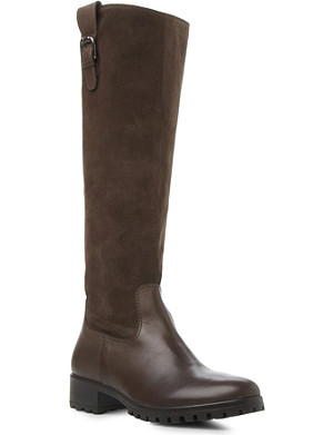 BERTIE Tabee suede and leather knee-high boots