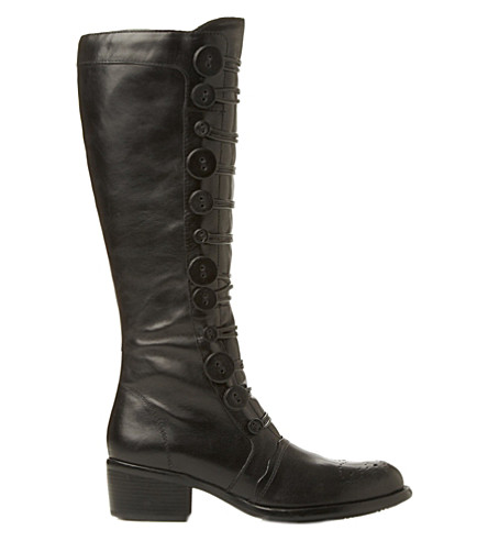 BERTIE Pixie buttoned knee-high boots (Black