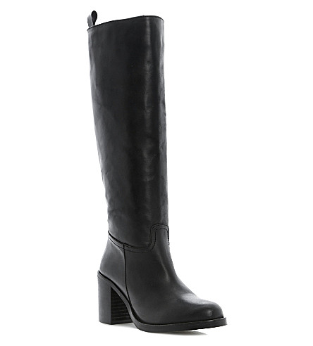 BERTIE Tinder leather knee-high boots (Black-leather