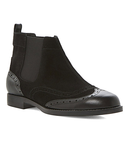 BERTIE Pander leather brogue boots (Black-suede
