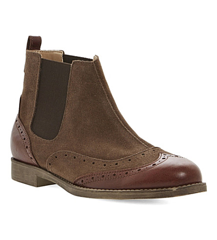 BERTIE Pander leather brogue boots (Brown-suede