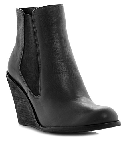 BERTIE Peoney leather wedge Chelsea boots (Black-leather