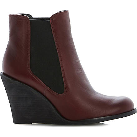 BERTIE Peoney wedge boots (Burgundy-leather