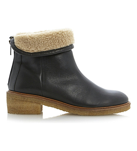 BERTIE Leather ankle boots (Black leather