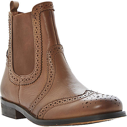 BERTIE Leather brogue Chelsea boots (Tan-leather