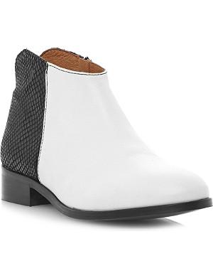 BERTIE Pettus reptile-panel leather ankle boot