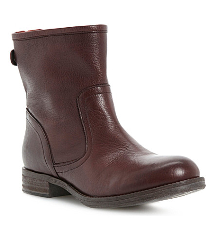 BERTIE Pyrena zip-back leather boots (Burgundy-leather