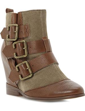 BERTIE Python wedge boots